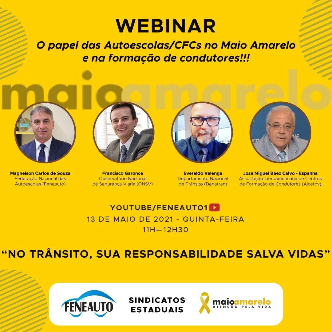 Maio Amarelo: Feneauto vai promover webinar com especialistas em trânsito
